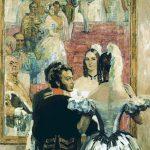 Н.П. Ульянов «Пушкин с женой на придворном балу перед зеркалом»