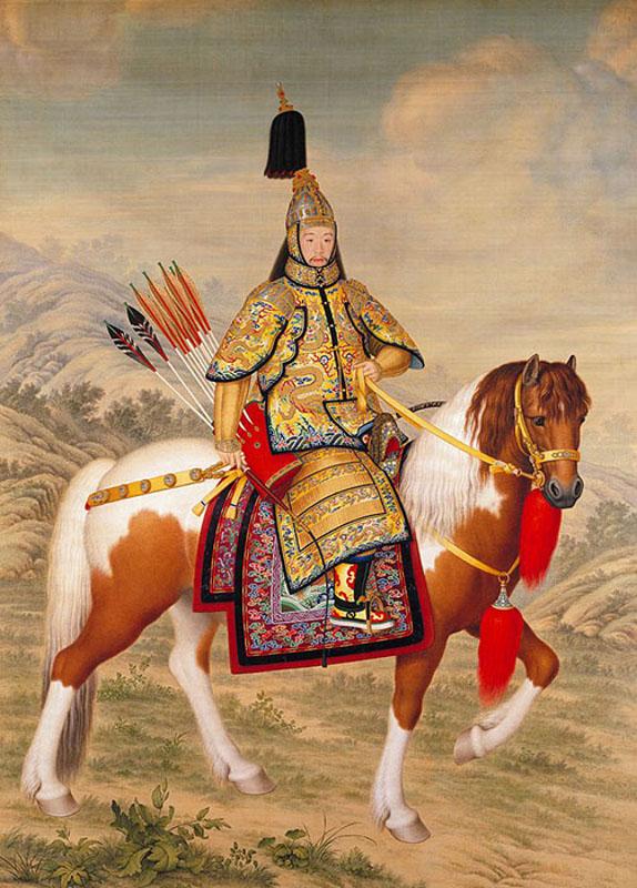 """Джузеппе Кастильоне """"Конный портрет императора Цяньлуна в церемониальном доспехе инспектирующего войска"""" 1758"""