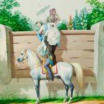 """К.К. Гампельн """"Девушки, перелезающие через забор с помощью молодого офицера"""" Около 1850"""