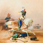 """К.К. Гампельн """"Французский гусар, преследуемый башкиром"""" Около 1850"""