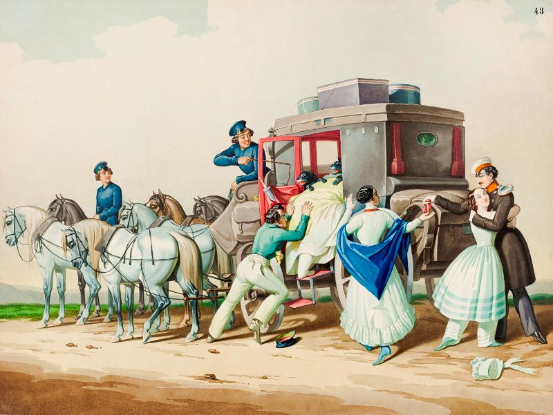 """К.К. Гампельн """"Отъезд помещицы"""" Около 1850"""