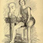 """П. Митурич """"Модель в аудитории. ВХУТЕМАС"""" 1925"""