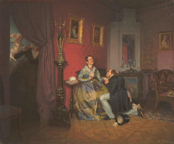 П.А. Федотов «Разборчивая невеста» 1847 Собрание Государственной Третьяковской галереи.
