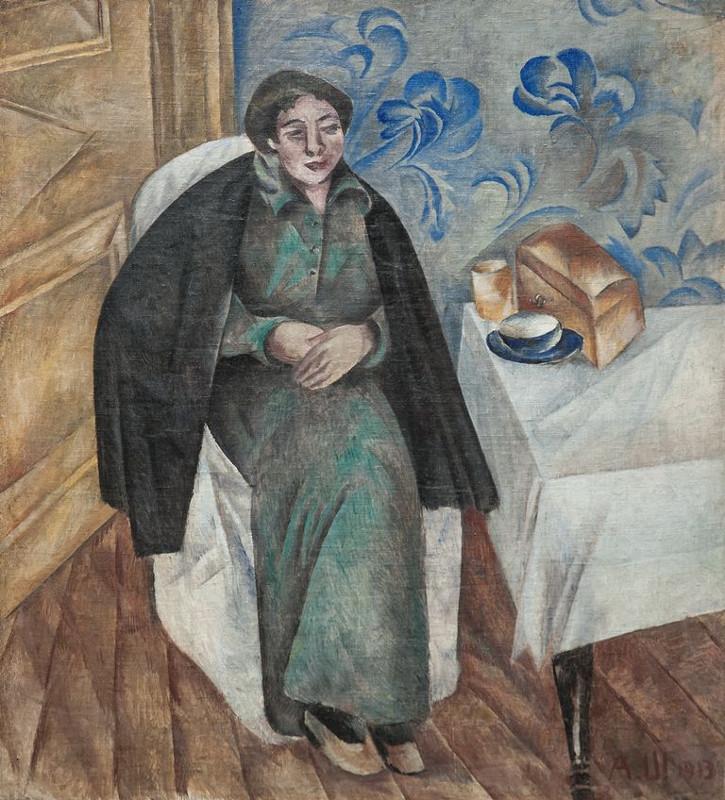 """А.В. Шевченко """"Портрет женщины в зеленом платье"""" 1913"""