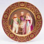 """Тарелка """"Встреча Наполеона, Александра и прусской королевы Луизы в Тильзите"""" XIX век, Россия"""
