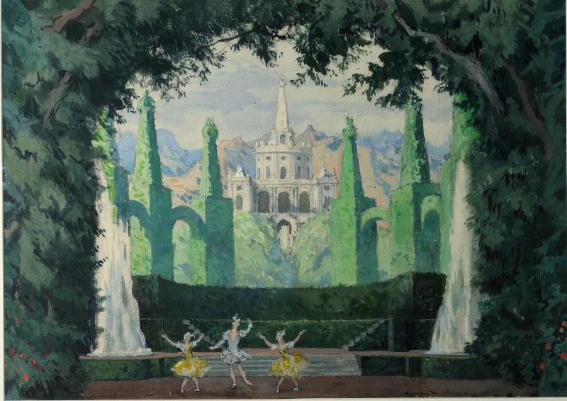 """Бенуа А.Н. """"Эскиз декорации для 2-й сцены балета """"Павильон Армиды"""" Н.Н.Черепнина. Сад Армиды"""" 1909"""
