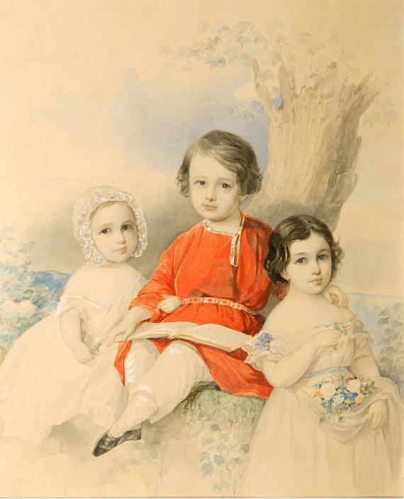 Владимир Гау «Групповой портрет детей в пейзаже» 1840-1850-е Собрание Музея В.А. Тропинина и московских художников его времени.