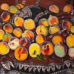 """Мариам Асламазян """"Персики на индийской ткани"""" 1985"""