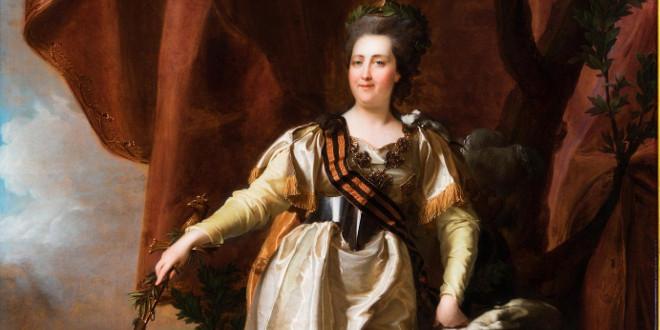 Портрет Екатерины Великой с георгиевской лентой.
