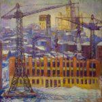 """П. Кузнецов """"Строительство Москвы"""" 1960"""