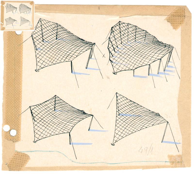 Фрай Отто, Эскиз мембранных конструкций, 1967