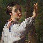 "В.А. Тропинин ""Девушка-украинка, собирающая сливы"" 1820-е"