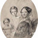 """М.А. Поленова """"Автопортрет с дочерьми Верой и Еленой"""" 1853"""