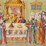 """Миниатюра с изображением старинного обряда """"чесания голов""""."""