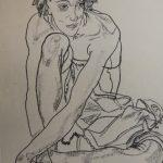 "Эгон Шиле ""Девушка сидящая на корточках"""