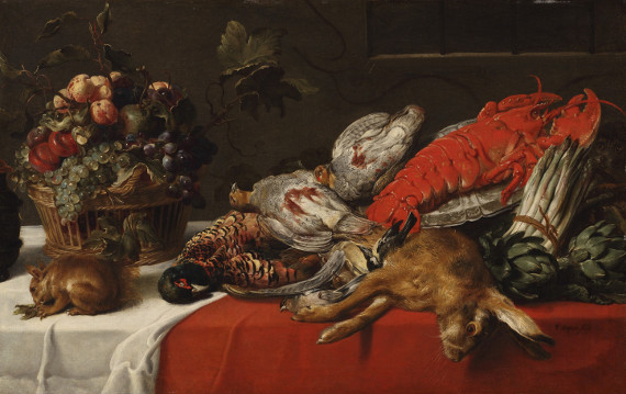 Франс Снайдерс «Натюрморт с лобстером, битой дичью, зайцем, корзиной фруктов и белкой» 1625-1630-е © Old Masters Gallery. Предоставлено: Российский Антикварный Салон.