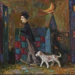 """Моисей Фейгин """"Чаплин на прогулке с собачкой"""" 1987"""