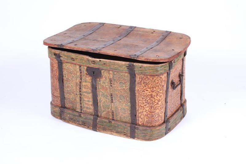 Короб. Луб, дерево, металл, темпера. Первая половина 18 века, Русский Север