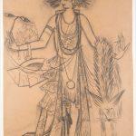 """Наталия Гончарова """"Эскиз женского платья с боа"""" Вторая половина 1920-х"""