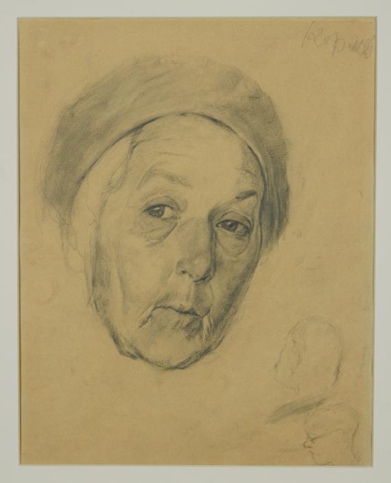 Гелий Коржев «Голова пожилой женщины в берете» 1942. Из собрания МЦХШ. Предоставлено: Парк «Зарядье».