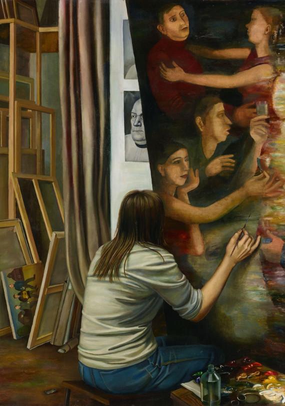 Т.Г. Назаренко «Мастерская» 1983 Левая часть триптиха. © Собрание Государственной Третьяковской галереи. Предоставлено: Государственная Третьяковская галерея.
