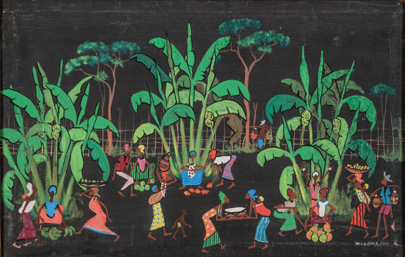 Ж. Зигома «Сбор бананов». Школа Пото-Пото. Конго, Браззавиль. 1960-е. Предоставлено: Государственный Музей Востока.