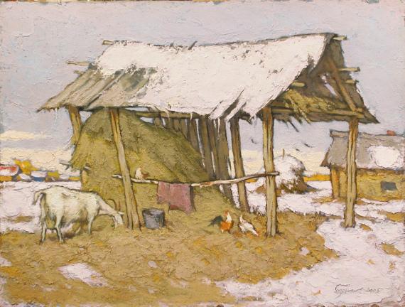 Борис Борисов «Снег в октябре» 2005. Предоставлено: Пензенская картинная галерея им. К.А. Савицкого.