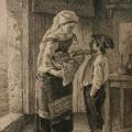 """16. Якоби Валерий """"Итальянка с мальчиком"""" Бумаг, тушь, перо 27,6х17,8 Пермская государственная художественная галерея"""