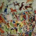 """1. Якулов Георгий """"Скачки"""" 1905 Бумага, картон, гуашь, акварель, графит, кисть, перо 102х69 Государственная Третьяковская галерея"""