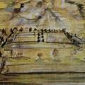 """24. Якулов Георгий """"Ландшафт, залитый солнечным светом"""" 1914 Фанера, гуашь, акварель, тушь 82х149 Национальная галерея Армении, Ереван"""