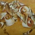"""29. Якулов Георгий """"Нападение льва на лошадь. Декоративное панно"""" 1919 Фанера, масло 99х149 Государственная Третьяковская галерея"""