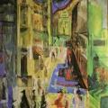 """3. Якулов Георгий """"Улица"""" 1909 Бумага, темпера, масло 97,7х62 Государственный Русский музей"""