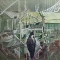 """35. Якулов Георгий """"Интерьер кафе"""" Бумага, цветной карандаш 22,2х30,4 Национальная галерея Армении, Ереван"""