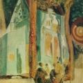 """36. Якулов Георгий """"Женщины в парке на фоне церкви"""" Бумага, гуашь, акварель Национальная галерея Армении, Ереван"""