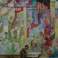 "40. Якулов Георгий ""Чайхана в Ереване"" Бумага, картон, гуашь, карандаш, лак 28,6х50,4 Национальная галерея Армении, Ереван"