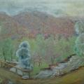 """47. Якулов Георгий """"Пейзаж с мостом"""" 1928 Цветная бумага, цветной карандаш 25х32 Национальная галерея Армении, Ереван"""