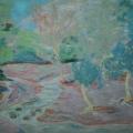 """48. Якулов Георгий """"Три дерева у реки"""" 1928 Цветная бумага, цветной карандаш 25х33 Национальная галерея Армении, Ереван"""