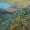 """49. Якулов Георгий """"Окраина Дилижана"""" 1928 Цветная бумага, цветной карандаш 25х33 Национальная галерея Армении, Ереван"""
