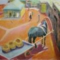 """5. Якулов Георгий """"Во дворе"""" 1909 Бумага, картон, масло 34х51,5 Национальная галерея Армении, Ереван"""