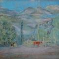 """50. Якулов Георгий """"Пейзаж с красным бычком"""" 1928 Цветная бумаша, пастель 25х33 Национальная галерея Армении, Ереван"""