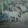 """53. Якулов Георгий """"Пейзаж с телегой и лошадью"""" 1928 Цветная бумага, цветной карандаш 25х33 Национальная галерея Армении, Ереван"""