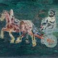"""7. Якулов Георгий """"Этюд с лошадью и повозкой"""" 1910 Бумага, картон, масло 34х51,5 Национальная галерея Армении, Ереван"""
