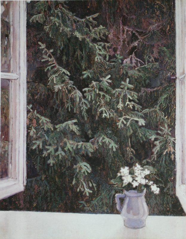 Якунчикова-Вебер М. В., Окно. 1896 год. Панно, выжигание по дереву, масло
