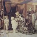 """5. Журавлев Фирс """"Дама-благотворительница"""" 1860-е(?) Бумага, сепия, графитный карандаш, лак 35х48,1 Государственный Русский музей"""