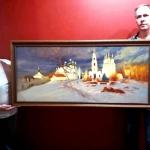"""Художник В.С. Шаров передаёт свою картину """"Свет Астраханского Кремля"""" в дар галерее. Предоставлено: Астраханская картинная галерея имени П.М. Догадина."""
